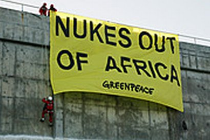 Greenpeace hung an anti-nuclear protest banner from Koeberg power plant, 2002