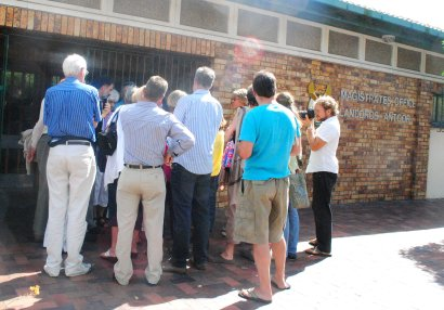 Anthea and supporters gather outside the magistrate Court in Simonstown