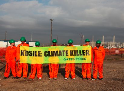 Greenpeace protesters outside Kusile