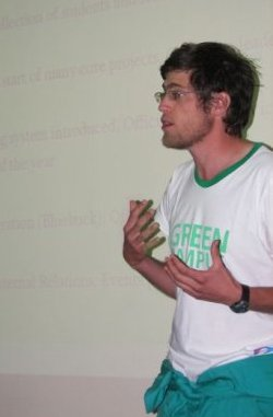 Richard Parker from UCT's GCI wearing the Green 'Police' Overalls