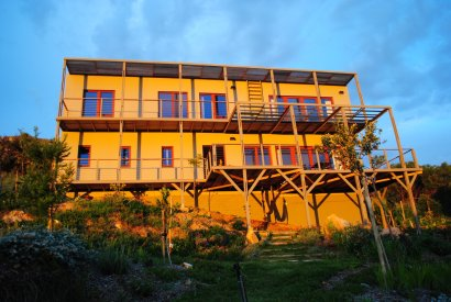 The Hemp House in all it's sunset-lit glory